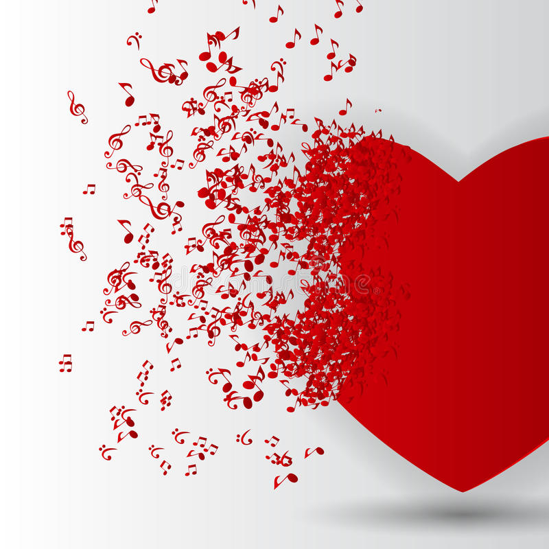 Счастливая карточка дня валентинок с сердцем, примечаниями музыки. иллюстрация штока
