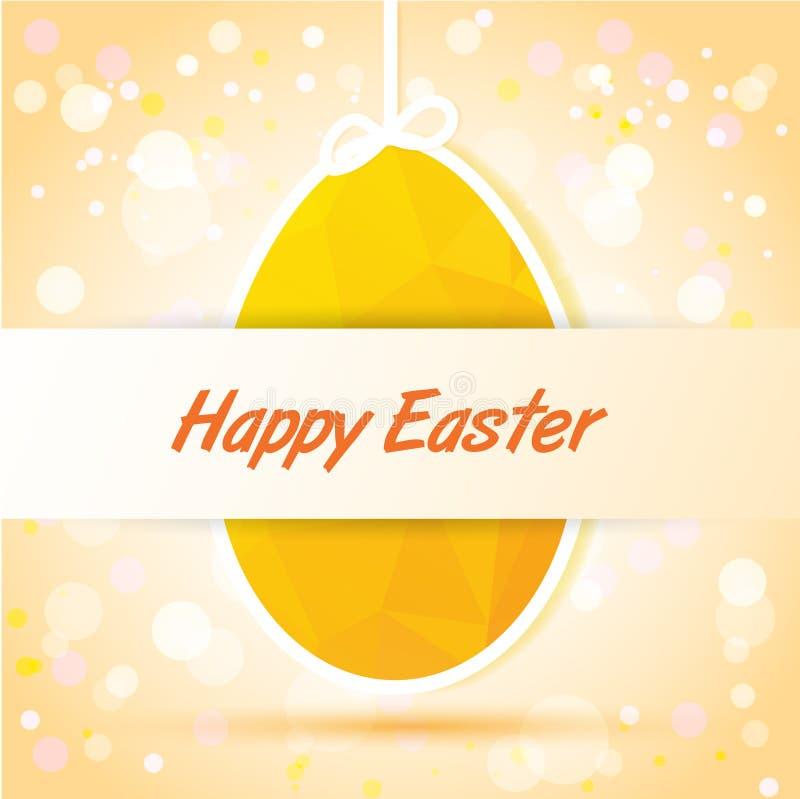 Счастливая карточка пасхи желтая иллюстрация вектора