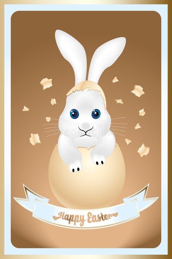 Счастливая карточка пасхи с милым зайчиком иллюстрация штока