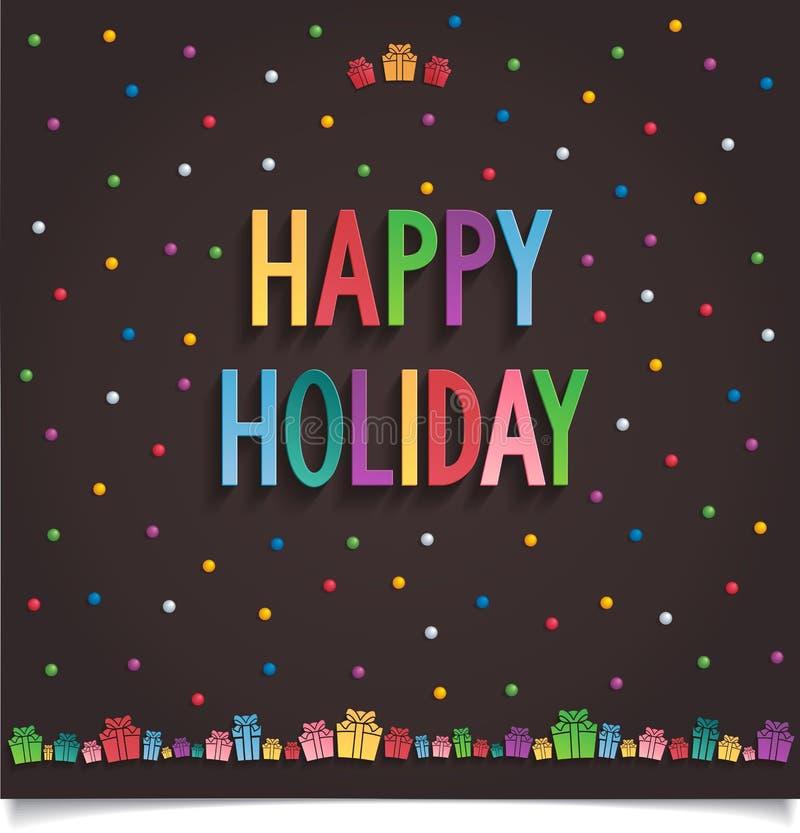 Счастливая карточка праздника с подарком и письмо в сладостном s иллюстрация вектора