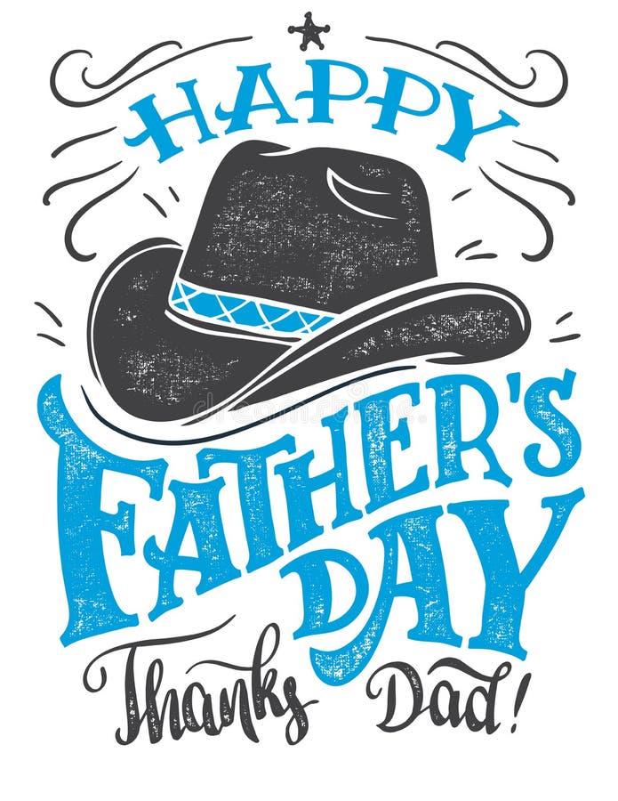 Счастливая карточка рук-литерности дня ` s отца бесплатная иллюстрация