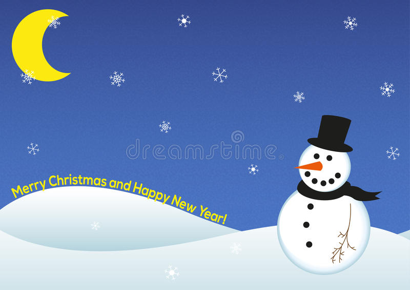 Счастливая карточка снеговика Нового Года бесплатная иллюстрация