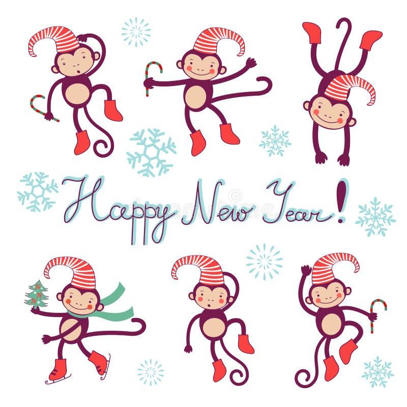 Счастливая карточка с обезьянами - символ Нового Года 2016 бесплатная иллюстрация