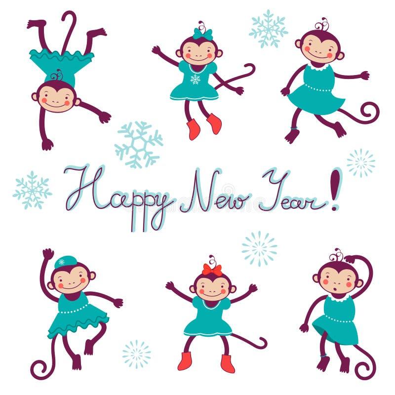 Счастливая карточка с обезьянами - символ Нового Года 2016 иллюстрация штока