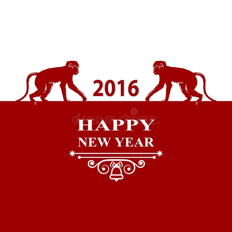 Счастливая карточка украшений праздников 2016 Нового Года Обезьяна силуэта на красной белой предпосылке Поздравительная открытка, иллюстрация вектора