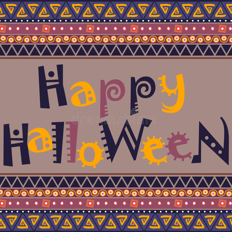 Счастливая карточка хеллоуина с африканским дизайном орнамента иллюстрация штока