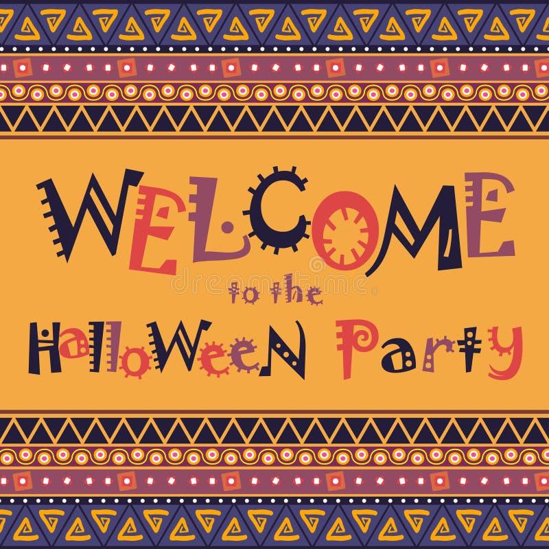 Счастливая карточка хеллоуина с африканским дизайном орнамента иллюстрация вектора