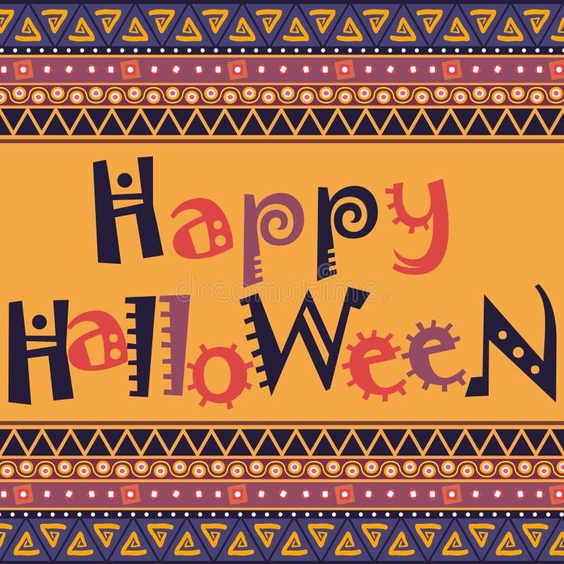 Счастливая карточка хеллоуина с африканским дизайном орнамента бесплатная иллюстрация