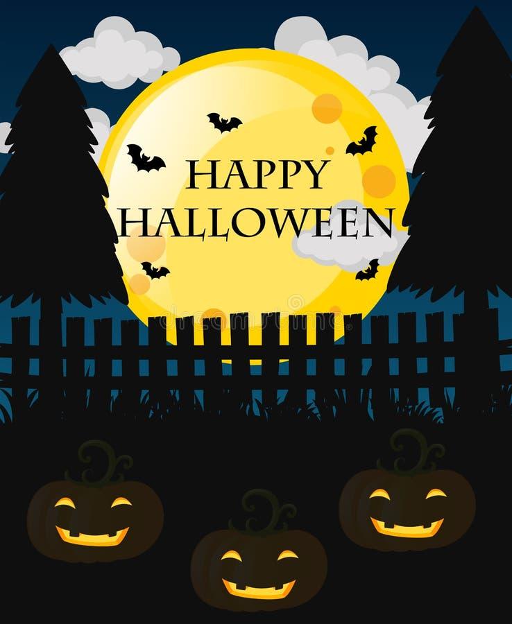 Счастливая карточка хеллоуина с Джек-o-фонариками бесплатная иллюстрация