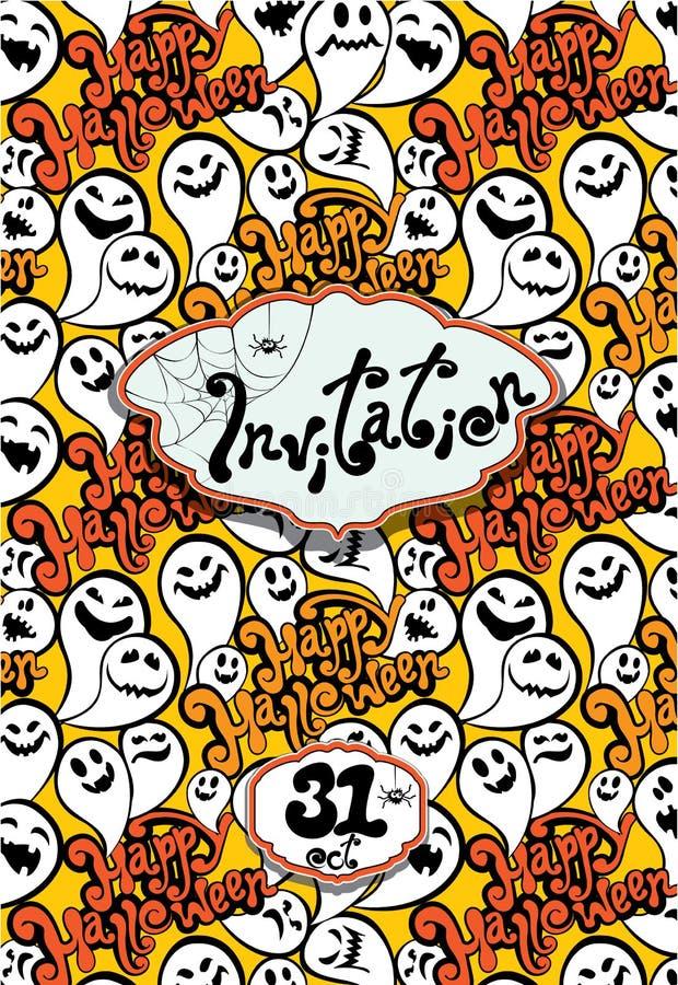 Счастливая карточка хеллоуина с смешным приглашением призрака party иллюстрация вектора