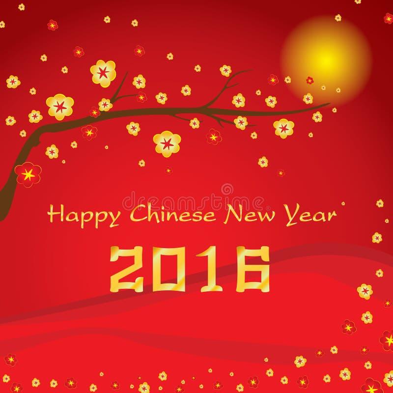 Счастливая китайская карточка Нового Года 2016 и красочный цветок на красной предпосылке бесплатная иллюстрация