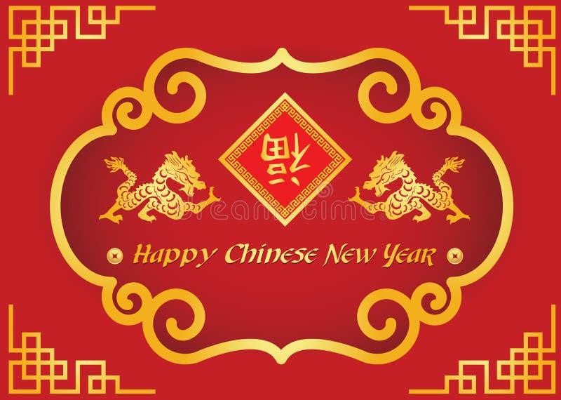 Счастливая китайская карточка Нового Года happness середины слова дракона и chiness золота бесплатная иллюстрация