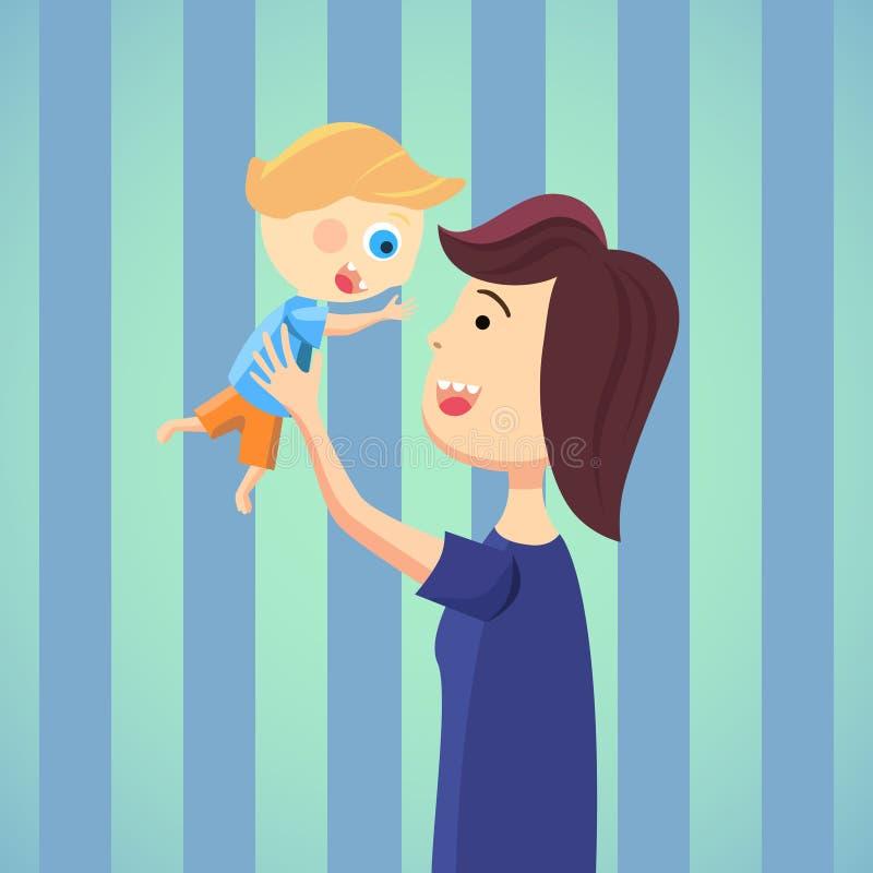 Счастливая мама с шаржем сына иллюстрация вектора