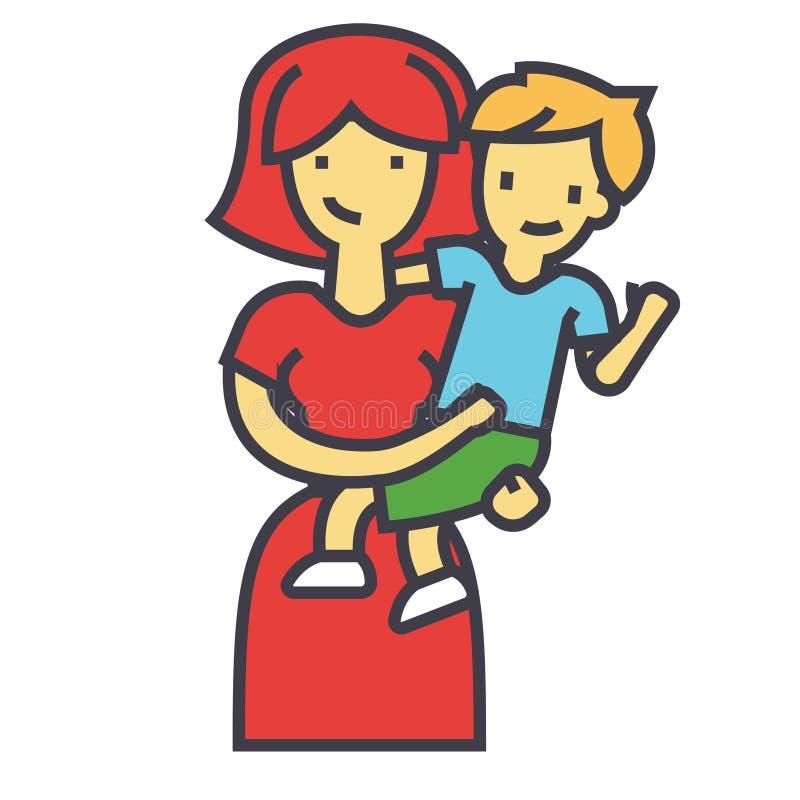 Счастливая мать при сын, милая мама обнимая концепцию ребенк иллюстрация штока