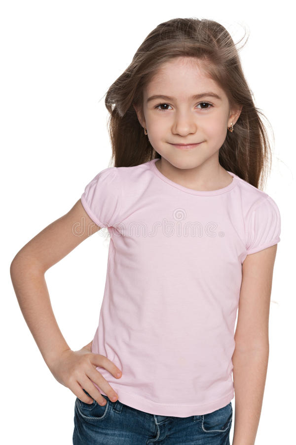 Счастливая маленькая девочка моды стоковые фото