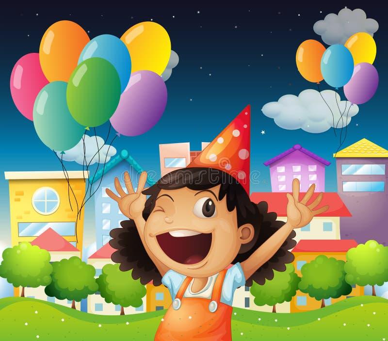 Счастливая маленькая девочка празднуя ее день рождения иллюстрация вектора