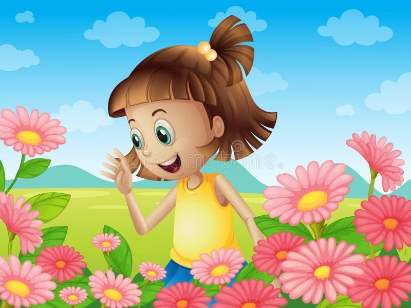 Счастливая маленькая девочка усмехаясь на саде иллюстрация вектора