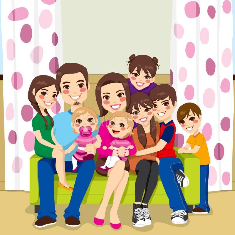 Счастливая многодетная семья бесплатная иллюстрация