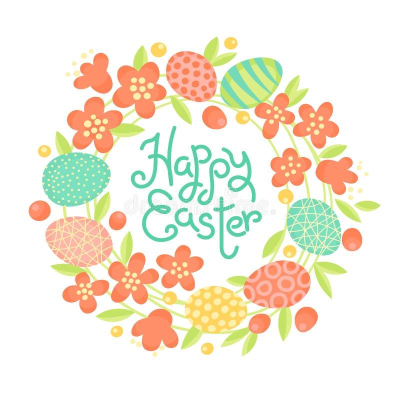 Счастливая надпись пасхи, венок цветков и покрашенные яичка Праздничная карточка в векторе бесплатная иллюстрация