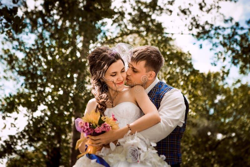 Счастливая невеста, groom стоя в зеленом парке, целующ, усмехающся, смеясь над любовники в дне свадьбы стоковые изображения rf