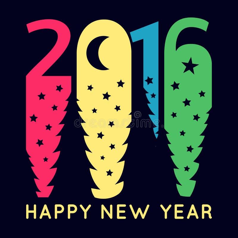 Счастливая Нового Года поздравительная открытка 2016 вектор бесплатная иллюстрация