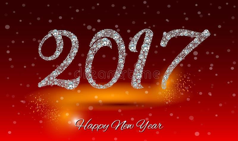 Счастливая Нового Года поздравительная открытка 2017 драгоценностей группы диаманта предпосылки разрешение extralarge большое бесплатная иллюстрация