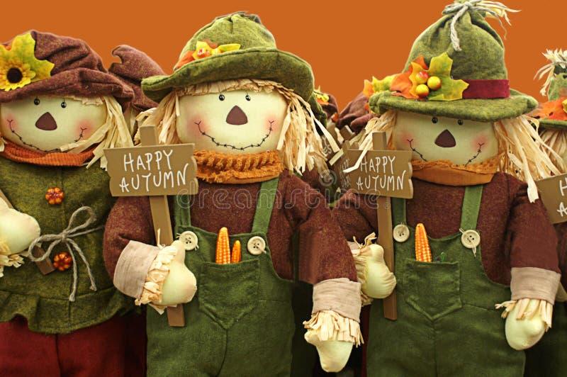 Счастливая осень пожелана строкой чучел стоковые изображения rf