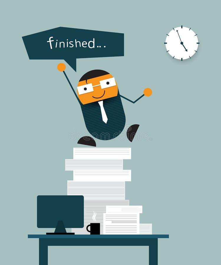 Счастливая отделка бизнесмена его работа в срок иллюстрация штока
