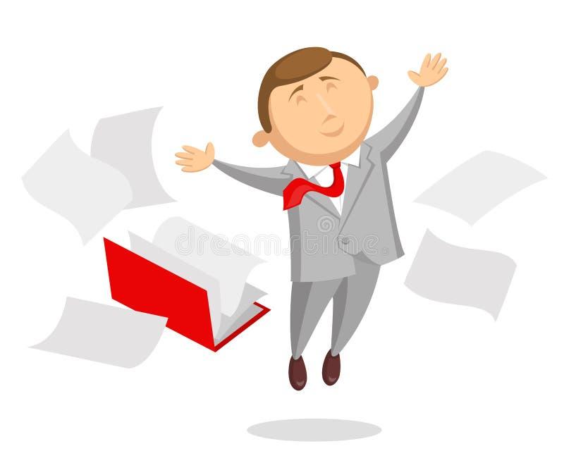 Счастливая папка клерка и документа бесплатная иллюстрация