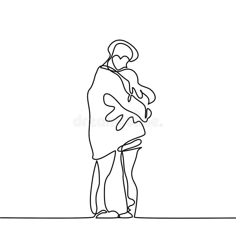 Счастливая пара греет в их оружиях под пальто мальчиков бесплатная иллюстрация