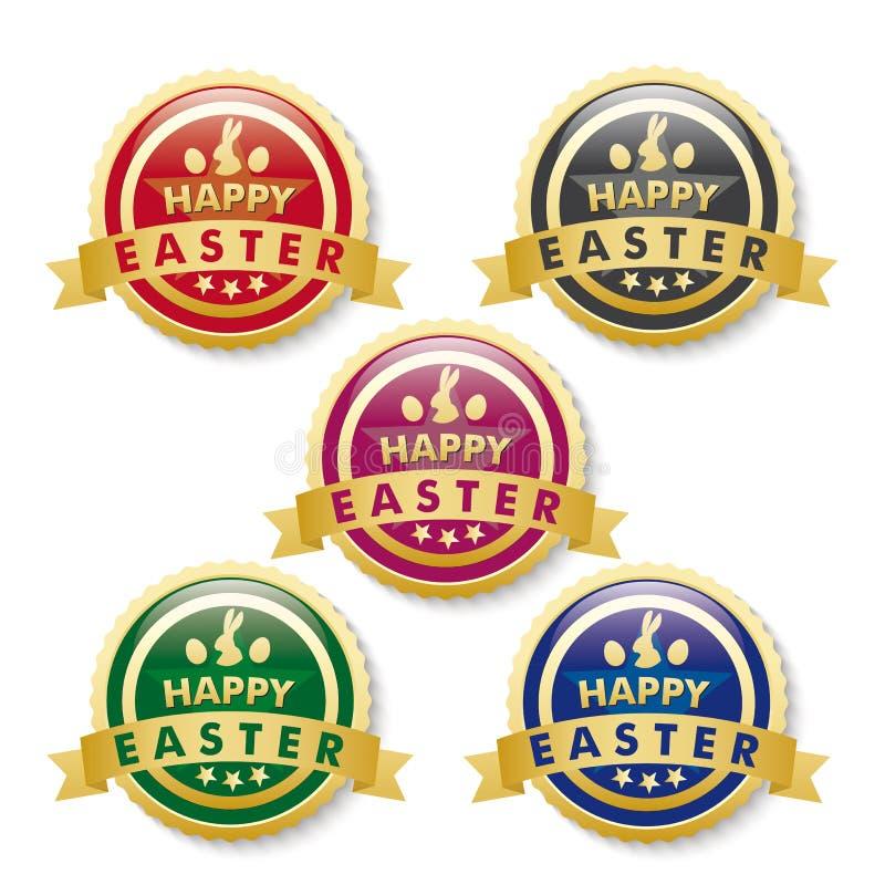 Счастливая пасха 5 золотых кнопок иллюстрация штока