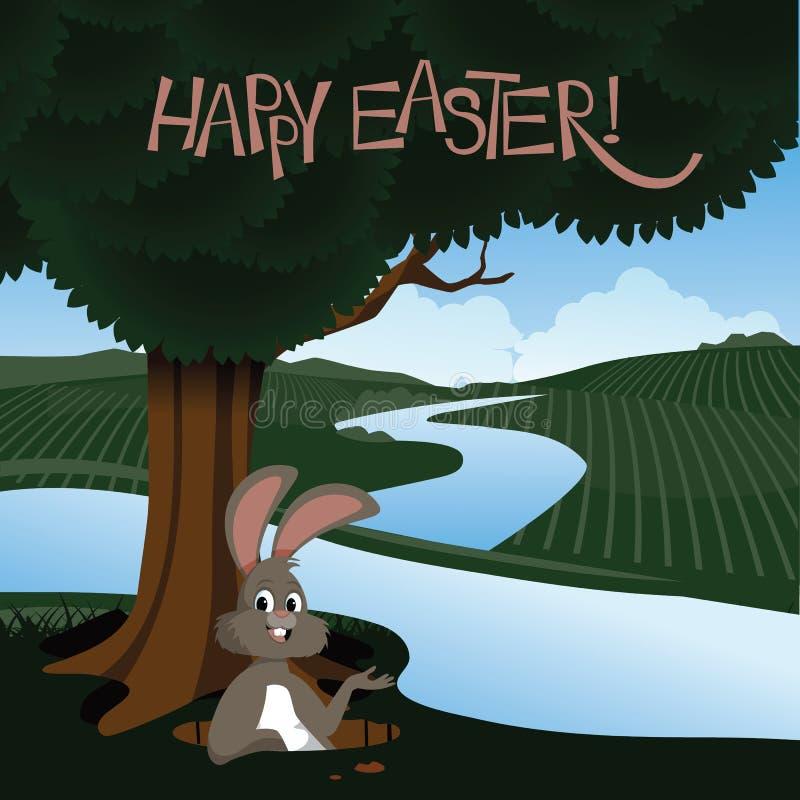 Счастливая пасха с зайчиком в парке бесплатная иллюстрация