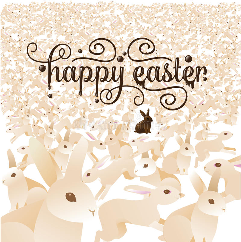 Счастливая пасха с толпой зайчиков бесплатная иллюстрация