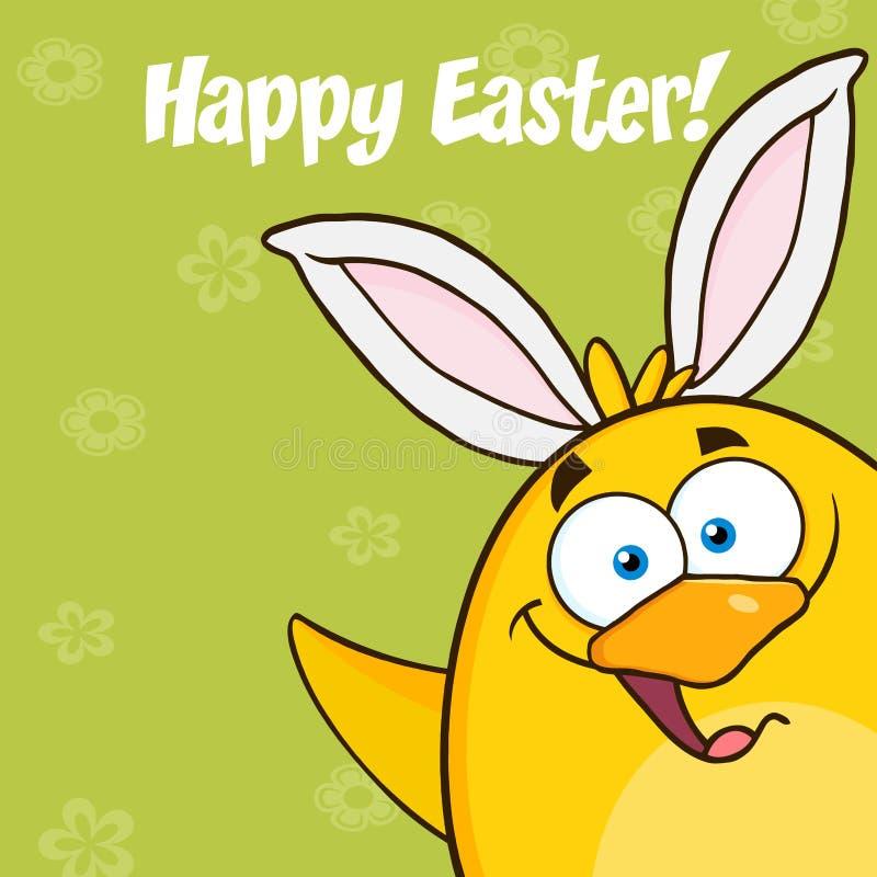 Счастливая пасха с усмехаясь желтым персонажем из мультфильма цыпленока с развевать ушей зайчика иллюстрация штока