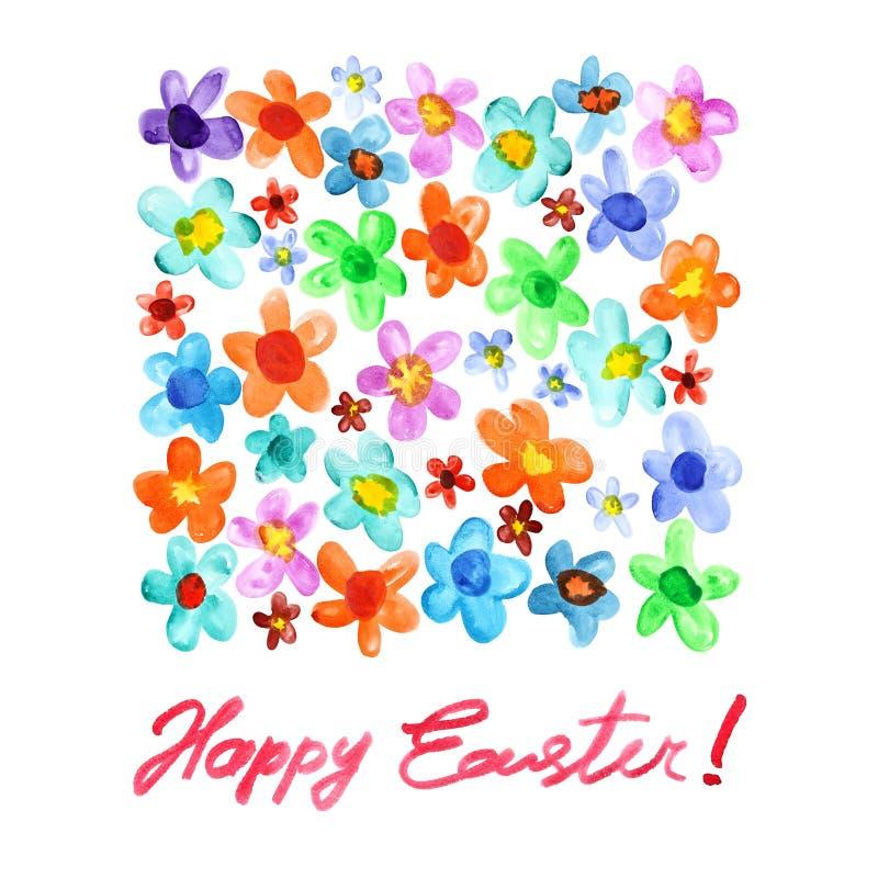 Счастливая пасха - цветки акварели бесплатная иллюстрация