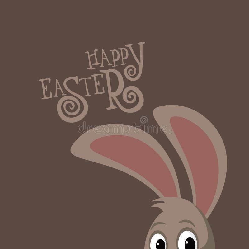 Счастливая пасха peeking уши зайчика и нарисованная рука отправляют СМС бесплатная иллюстрация