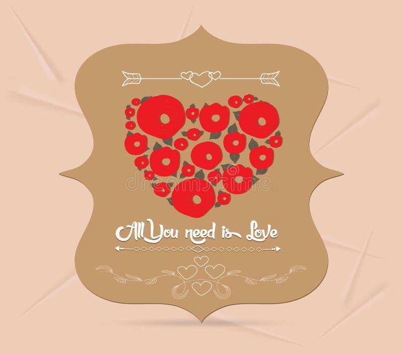 Счастливая поздравительная открытка валентинки иллюстрация вектора