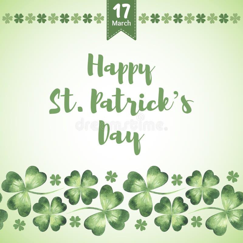 Счастливая поздравительная открытка вектора дня ` s St. Patrick с shamrock акварели бесплатная иллюстрация