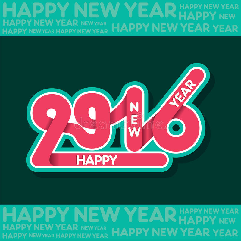 Счастливая поздравительная открытка дизайна Нового Года 2016 иллюстрация вектора