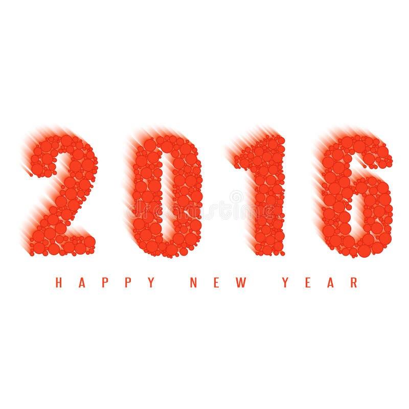 счастливая поздравительная открытка Нового Года 2016, текст шарика огня, элемент дизайна на праздник бесплатная иллюстрация