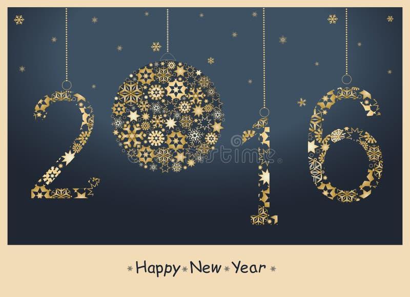 Счастливая поздравительная открытка Нового Года 2016 иллюстрация вектора