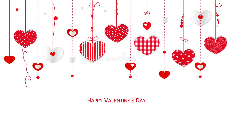 Счастливая поздравительная открытка дня валентинки с сердцами смертной казни через повешение дизайна границы vector предпосылка бесплатная иллюстрация