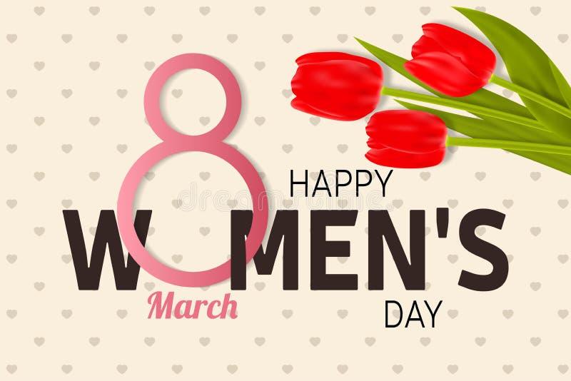 Счастливая поздравительная открытка дня женщин s с тюльпанами бесплатная иллюстрация