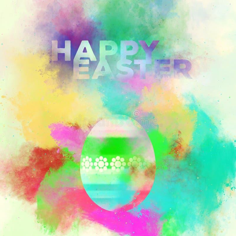 Счастливая поздравительная открытка пасхи Пасхальное яйцо на backgroun акварели иллюстрация штока