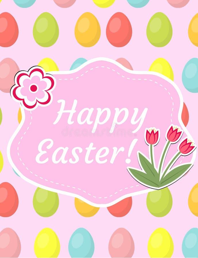 Счастливая поздравительная открытка пасхи, рогулька, плакат с красными тюльпанами и яичка Шаблон весны милый для вашего дизайна в иллюстрация вектора