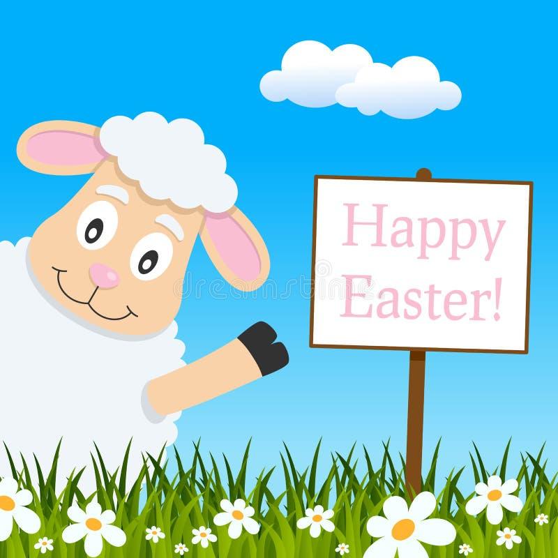Счастливая поздравительная открытка пасхи с милой овечкой иллюстрация вектора