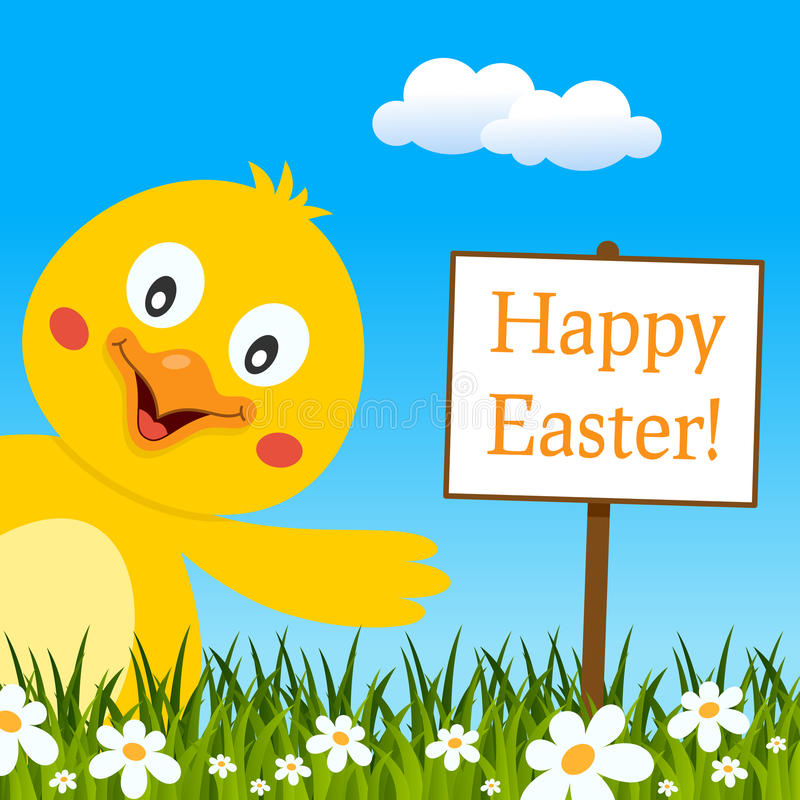 Счастливая поздравительная открытка пасхи с милым цыпленоком иллюстрация вектора
