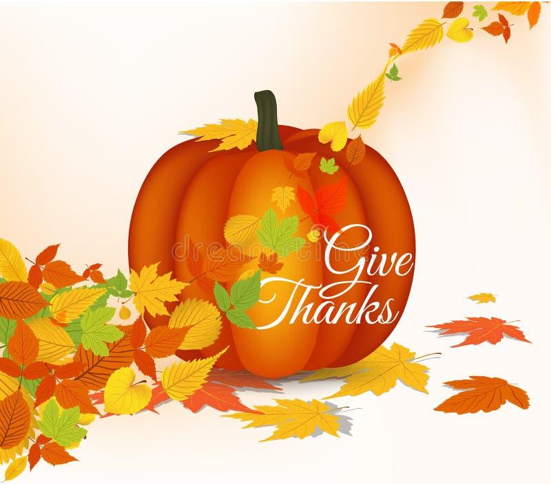 Счастливая поздравительная открытка с листьями, тыква благодарения бесплатная иллюстрация
