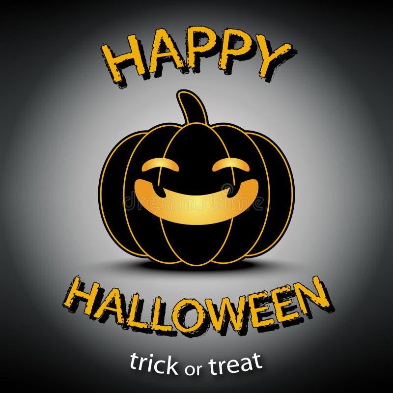 Счастливая поздравительная открытка хеллоуина с предпосылкой черноты тыквы иллюстрация штока