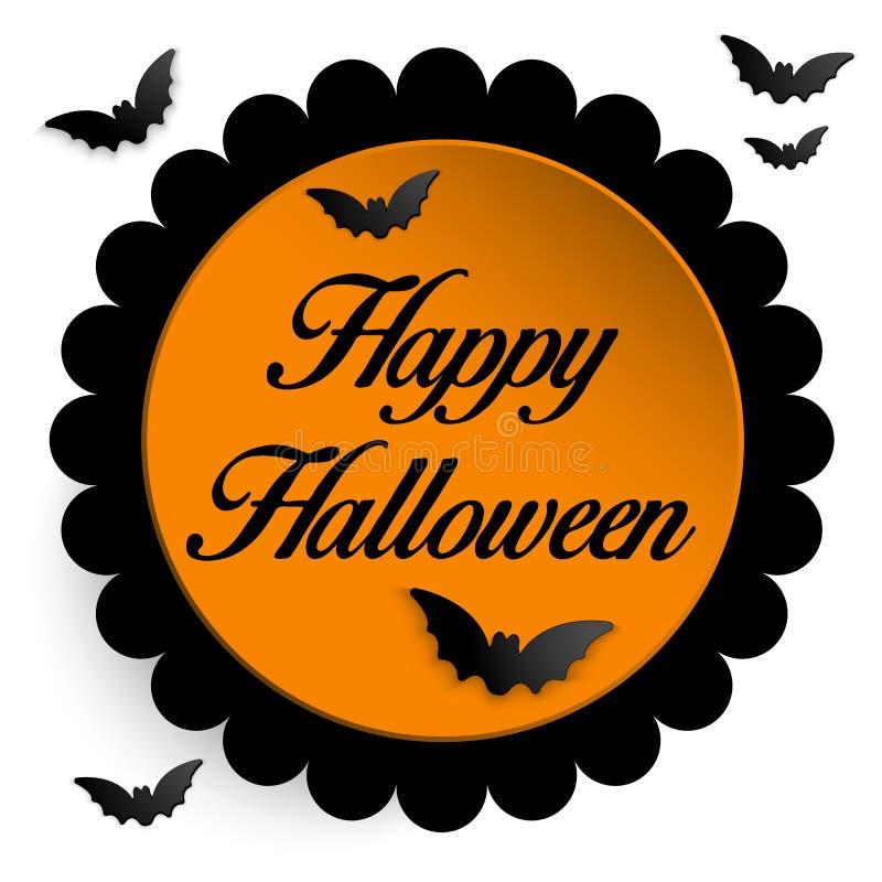 Счастливая предпосылка значка летучей мыши призрака хеллоуина иллюстрация вектора